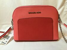 NWT Michael Kors Cindy Pocket LG Dome Leather Crossbody in Coral/Watermelon