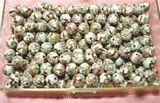 35 CLOISONNE BEADS WHITE  PINK FLOWERS 10mm. ROUND FROM CHINA
