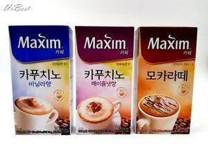 Korean Maxim Coffee Mix 3 flavors (Hazelnut / Vanilla / Moca latte) 13gx10Sticks