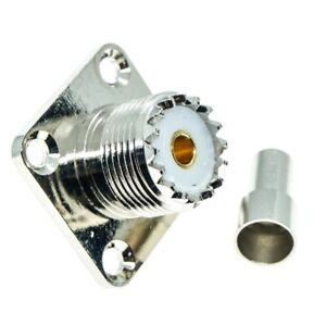 UHF Female Flange SO-239 Crimp For RG58 LMR195 RG142 Cable Straight RF connector