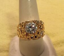 14 KT VERMEIL AND CZ ROUND STONE GOLD NUGGET RING