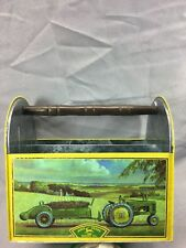 John Deere Tin Box Company Wooden Handle Unique Utensil Sewing Holder Tool Case