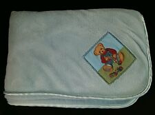 Blue Jean Teddy Velour Baby Blanket Blue Satin Trim Blocks Overalls 29X39 BJT
