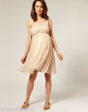 ASOS Maternity One Shoulder Party Formal Two Layers Pink Beige Dress in Size 16