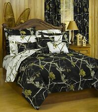Realtree Ap Black & White Camo 7 Piece King Comforter Set & 2 Valances -Bedding