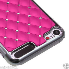 Apple iPod Touch 5 SILVER PLATING LATTICE COVER CASE SPOT DIAMONDS HOT PINK