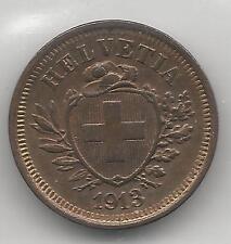 SWITZERLAND,  1913,  1 RAPPEN,  BRONZE,  ALMOST UNCIRCULATED,  KM#3.2