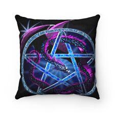 Purple Dragon Blue Pentacle Faux Suede Square Pillow
