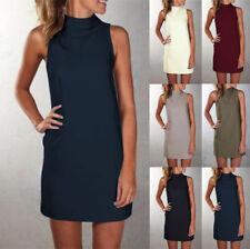 Plus Size Womens Polo Turtle Neck Ladies Tops Sleeveless Casual Mini Shirt Dress