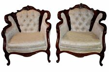 Vintage Carved Wood French Provincial Style Tufted Accent Chairs