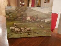 Tableau ancien huile sur toile, moutons dans un paturage, signée à déchiffrer