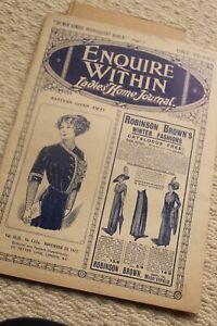 ANTIQUE EDWARDIAN MAGAZINE FASHION ORIGINAL SEWING PATTERN BODICE 1913 NOV 23