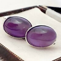Vintage - 1950s Purple Moonglow Glass - Oval Silver Plated Cufflinks