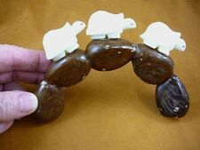 (TNE-T-TUR-47-D) 3 tortoise Turtle TAGUA NUT Figurine Carving Vegetable BRIDGE