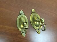 "2 Vintage 10""  Heavy Ornate Brass Gold Tone Sconces Wall Candle Holders Set"