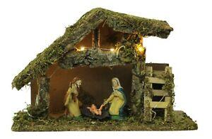 Christmas Nativity Display - LED Lightup Traditional Scene Xmas Baby Jesus Set