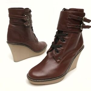 ✅❤️✅@ Juicy Couture Booties Women 7.5 M Brown Buckle Ankle Boot Shoe Wedge NWOB