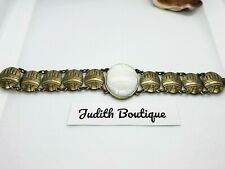 "Jewelmint Mother of Pearl Antique Brass Link Bracelet  7"" Vintage"