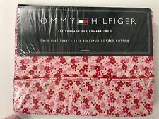 Tommy Hilfiger Jenna Twin Flat Sheet Pink Red Floral Scallop Trim 200 New
