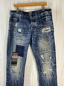 PRPS Men's Size 34 Distressed Patchwork Denim Jeans Barracuda Straight Leg EUC