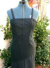 Thierry Mugler Space Age pinstripe dress strappy FR42 It46 Italy Claude Montana