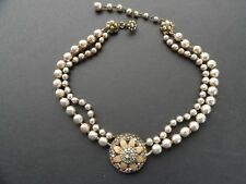 Vintage MIRIAM HASKELL Dbl. Strand Baroque Pearl and Rhinestone Flower NECKLACE