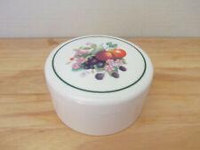 Nice Vintage Set of 6 Coasters and Holder Ceramic Like Hard Plastic Fruit Motif