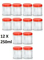 12 X 250ml Plastic Storage Jars Containers Canisters Pots Screw Top Food Grade