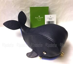 Kate Spade WLRU2839 Off We Go WHALE Kisslock Coin Purse Wallet Navy Blue NWT