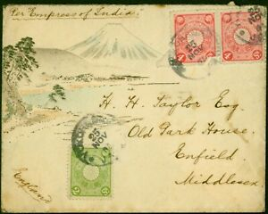 Japan 1904 Hand Painted Watercolour Cover to England Attractive