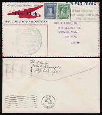 NEWFOUNDLAND FIRST FLIGHT 1942 TRANS CANADA AIRLINES...SAVINGS CERTS SLOGAN PMK