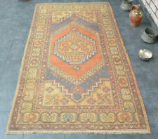 Hand-Knotted Oriental Geometric Rug Overdyed Turkish Oushak Wool Vintage Carpet