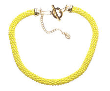 Sublime Sunshine Yellow & Intricate Snake Style Metal Chain Necklace(Ns16)TR