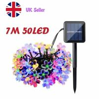 7M 50LEDs Solar Powered Flower Fairy String Lights Outdoor Party Wedding