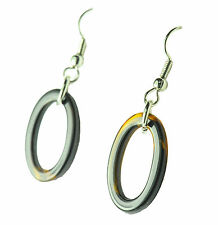 SIMPLE STYLISH LADIES CASUAL TRANSPARENT BROWN PLASTIC OVAL DROP EARRINGS (ZX2)