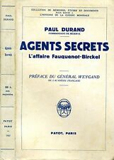 Agents Secrets. L'AFFAIRE FAUQUENOT-BIRCKEL. 1937. .
