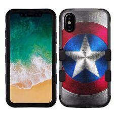 for Apple iPhone X (Ten) Armor Impact Hybrid Cover Case Captain America #M