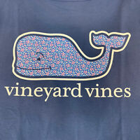 Vineyard Vines Womens Spring Flowers Whale Fill L/S Pocket T-shirt Sz L- NEW