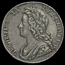 More details for 1739 george ii early milled silver half crown, gvf