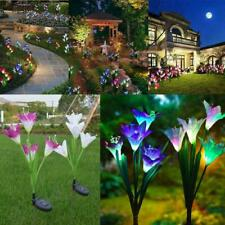 2 Pack Solar Lily Flowers Garden Lights LED Outdoor Yard Decor Lamp Multi-Color
