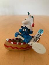 Smurfs Canoe Smurf Indian Native American 20549 Vintage Rare Figurine boat w/oar