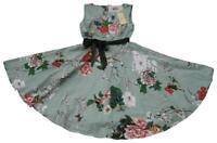 GRACE KARIN Brand Green Floral Sleeveless Rockabilly Dress Size L BNWT #TI49