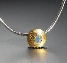 Einzelstück * Ausgefallene Kette mit Opal - Anhänger * 24ct. Gold * 925 Silber