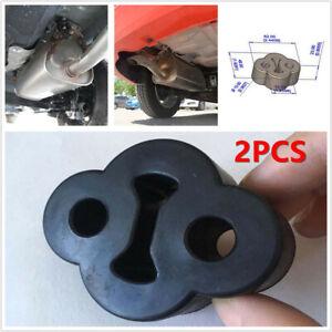 2 Pcs 2 Holes Car Rubber Exhaust Tail Pipe Mount Bracket Hanger Insulator Black