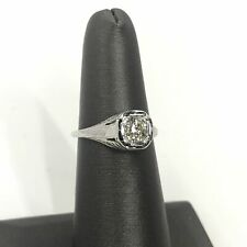 3/4 CT Old Mine Cut Diamond Engagement Ring in Platinum - Vintage