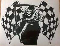 "MEDIUM 12x8"" grim reaper racing race flag car bonnet side vinyl stickers graphic"