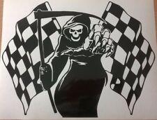 "12x8"" grim reaper chequerd race flag car bonnet side vinyl sticker graphic decal"
