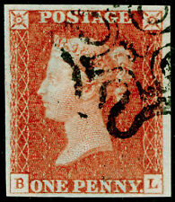 SG8, 1d red-brown, FINE USED. Cat £320. BLACK MX with NUMBER 10. 4 MARGINS. BL
