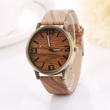 Hot Marketing Style Wood Grain Leather Quartz Watch Women Dress Wristwatches Men
