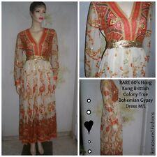 Rare 60's Vintage Hippie Gypsy Boho Layered Beige Orange Caftan Maxi Dress M/L